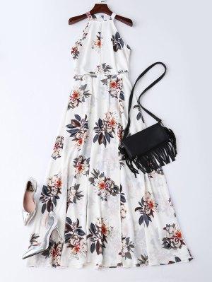 Bohemian Floral Open Back Maxi Dress - White
