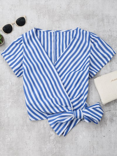 Zaful Striped Wrap Cropped Top