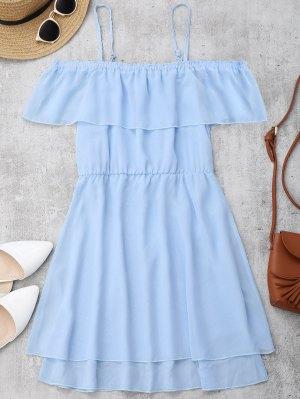 Ruffles Chiffon Cold Shoulder Mini Dress - Bleu Clair S