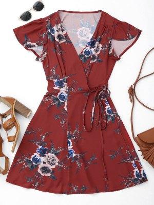 Floral Beach Wrap Mini Dress - Floral S