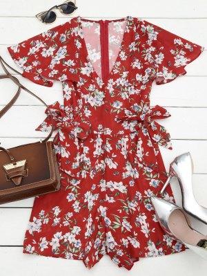 Bowknot Floral Chiffon Romper - Rouge - Rouge L