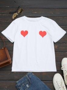 T-shirt En Coton à Imprimé Coeur - Rouge - Rouge M
