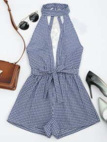 Cut Out Backless Tassels Checked Romper - Bleu - Bleu L