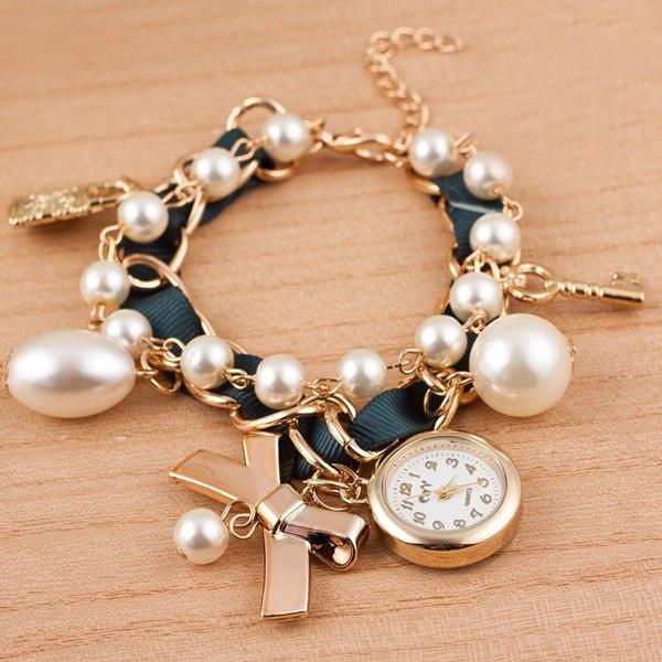 Faux Pearl Bows Key Lock Bracelet Watch