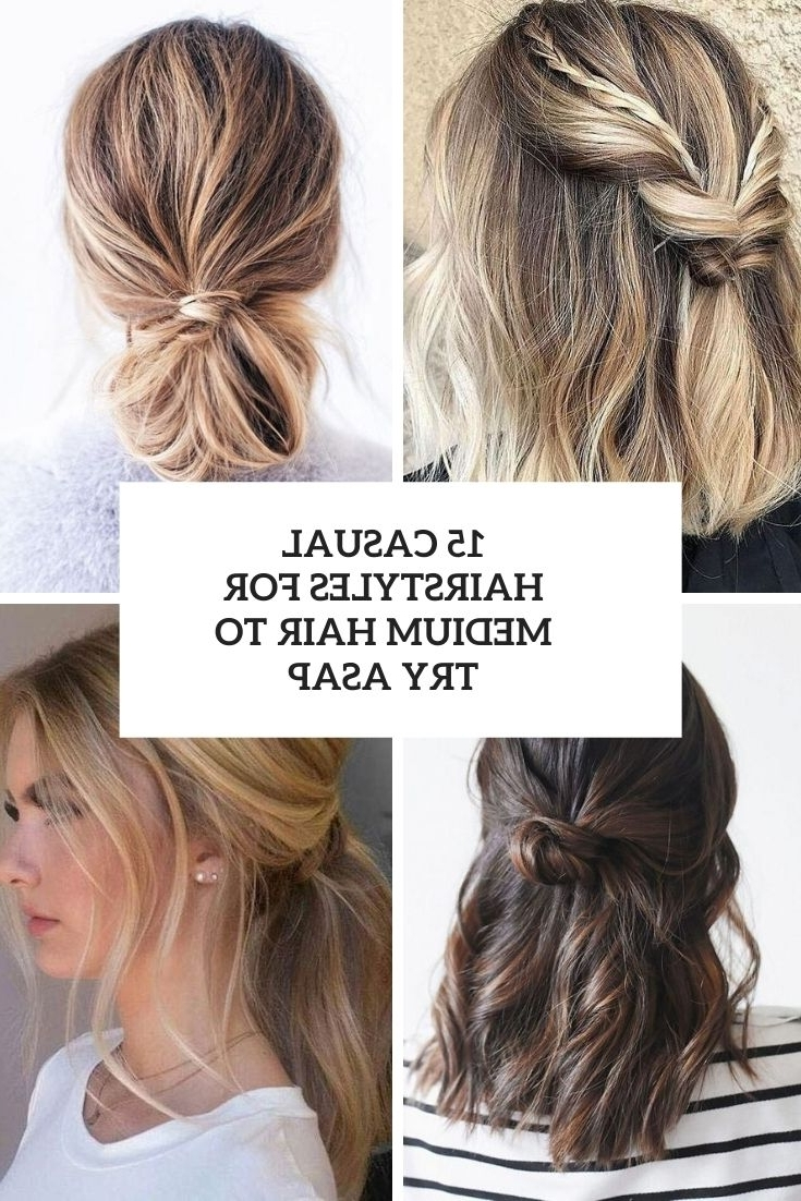 15 Casual Hairstyles For Medium Hair To Try Asap Styleoholic Everyday Updo Hairstyles For Medium Length Hair