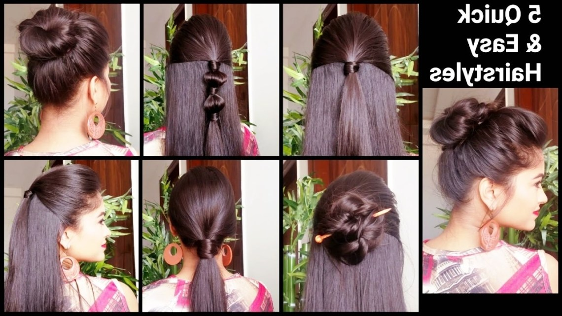5 Quick & Easy Hairstyles For Medium To Long Hair//Back To School Hairstyles //Indian Hairstyles Indian Office Hairstyles For Medium Hair