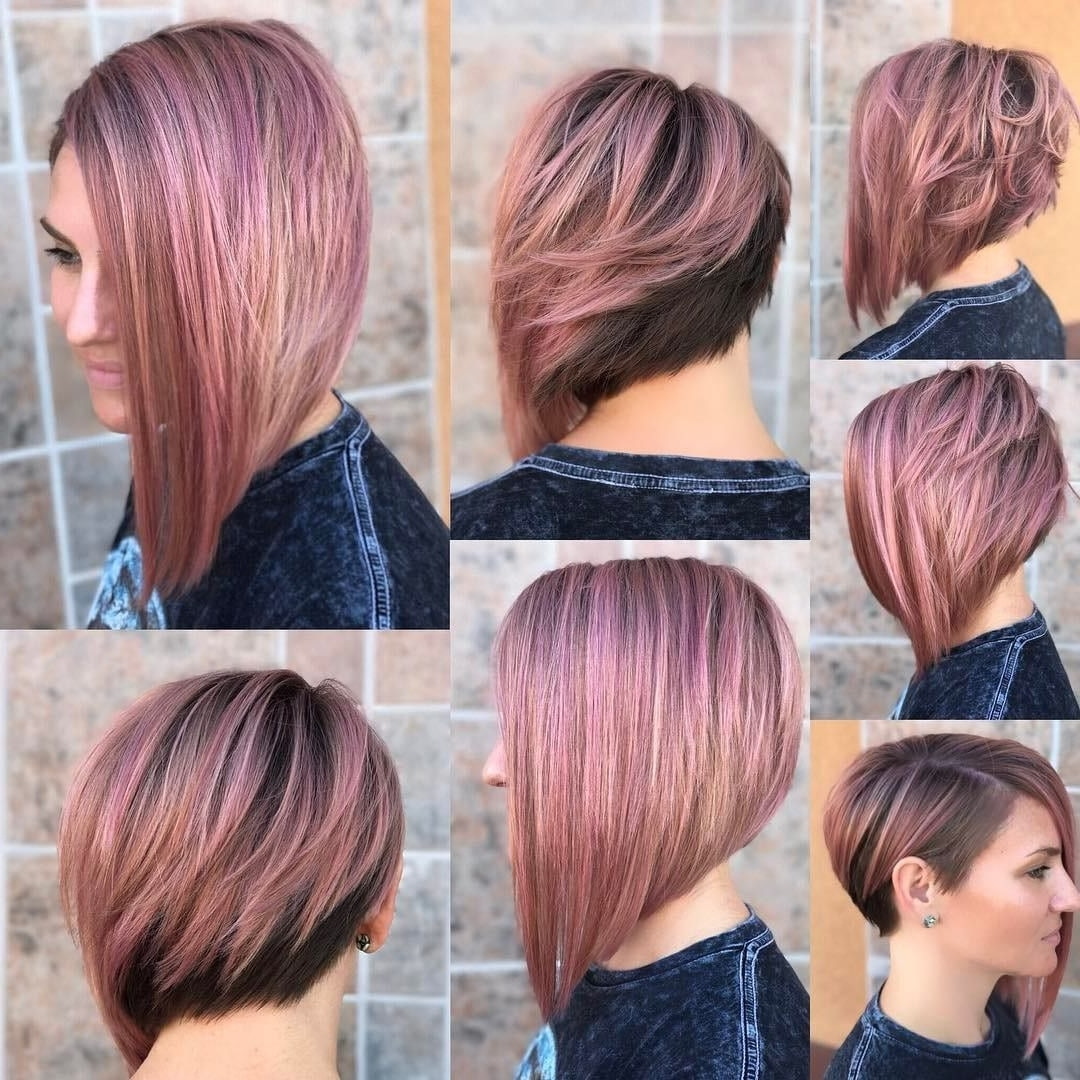 Chic Asymmetrical Bob With Rosy Brown Color And Highlights Medium Asymmetrical Bob Hairstyles