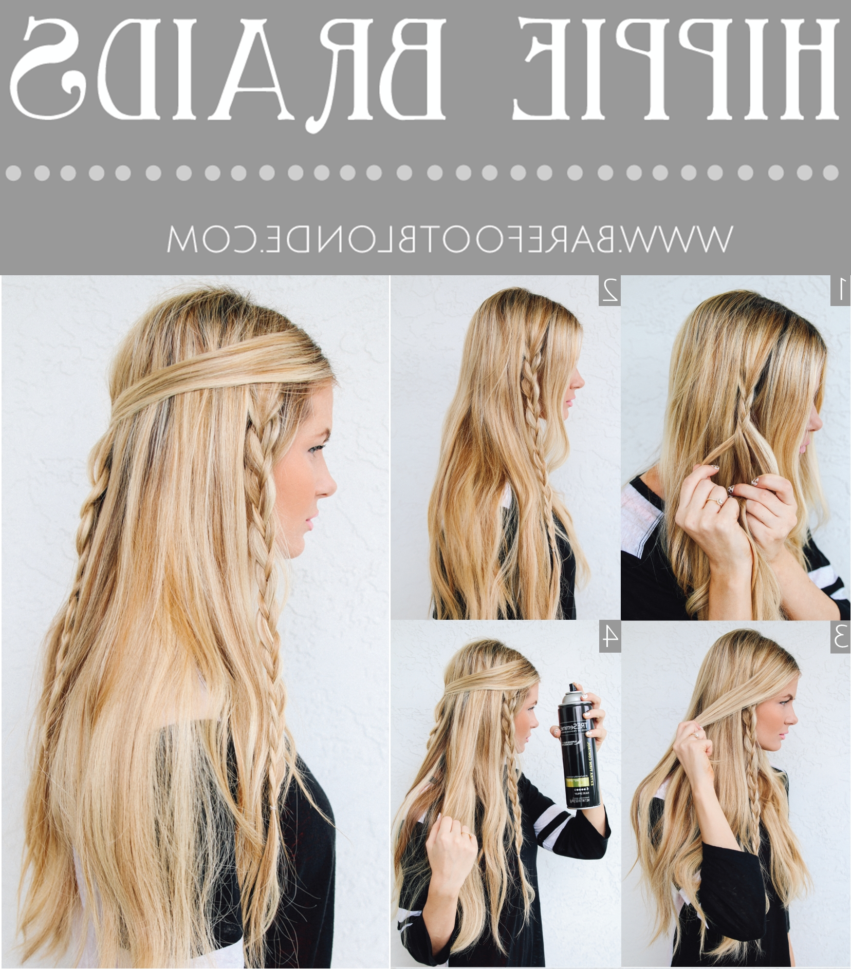 Easy Hippie Braids Hairstyle For School | Posehere In 2021 Hippie Hairstyles For Medium Length Hair