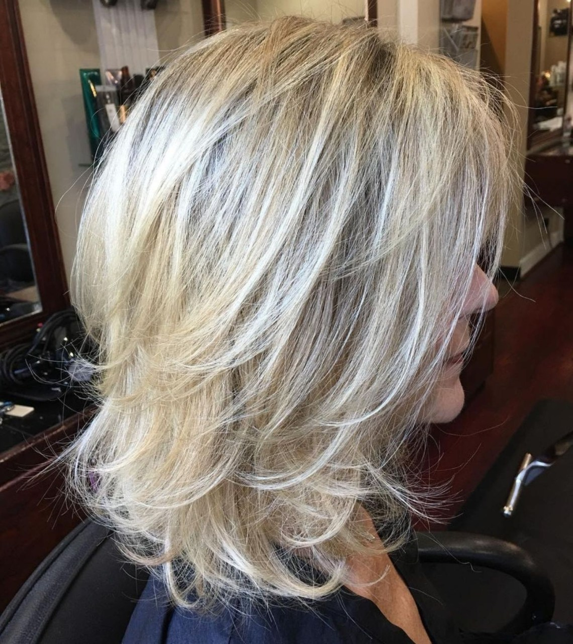 Medium Layered Blonde Hairstyle | Medium Shag Haircuts Blonde Hairstyles For Medium Length Hair