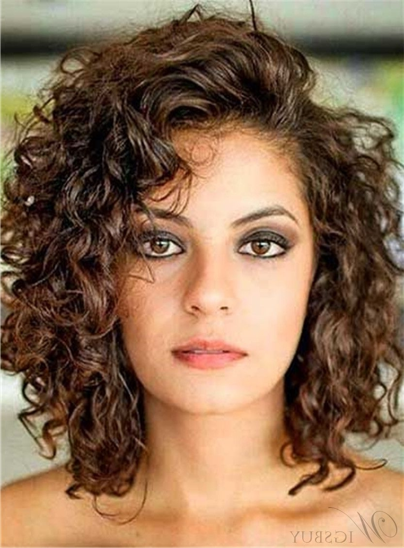 Side Swept Bangs Curly Mid Length Human Hair Lace Front Wigs Medium Wavy Hairstyles With Side Bangs
