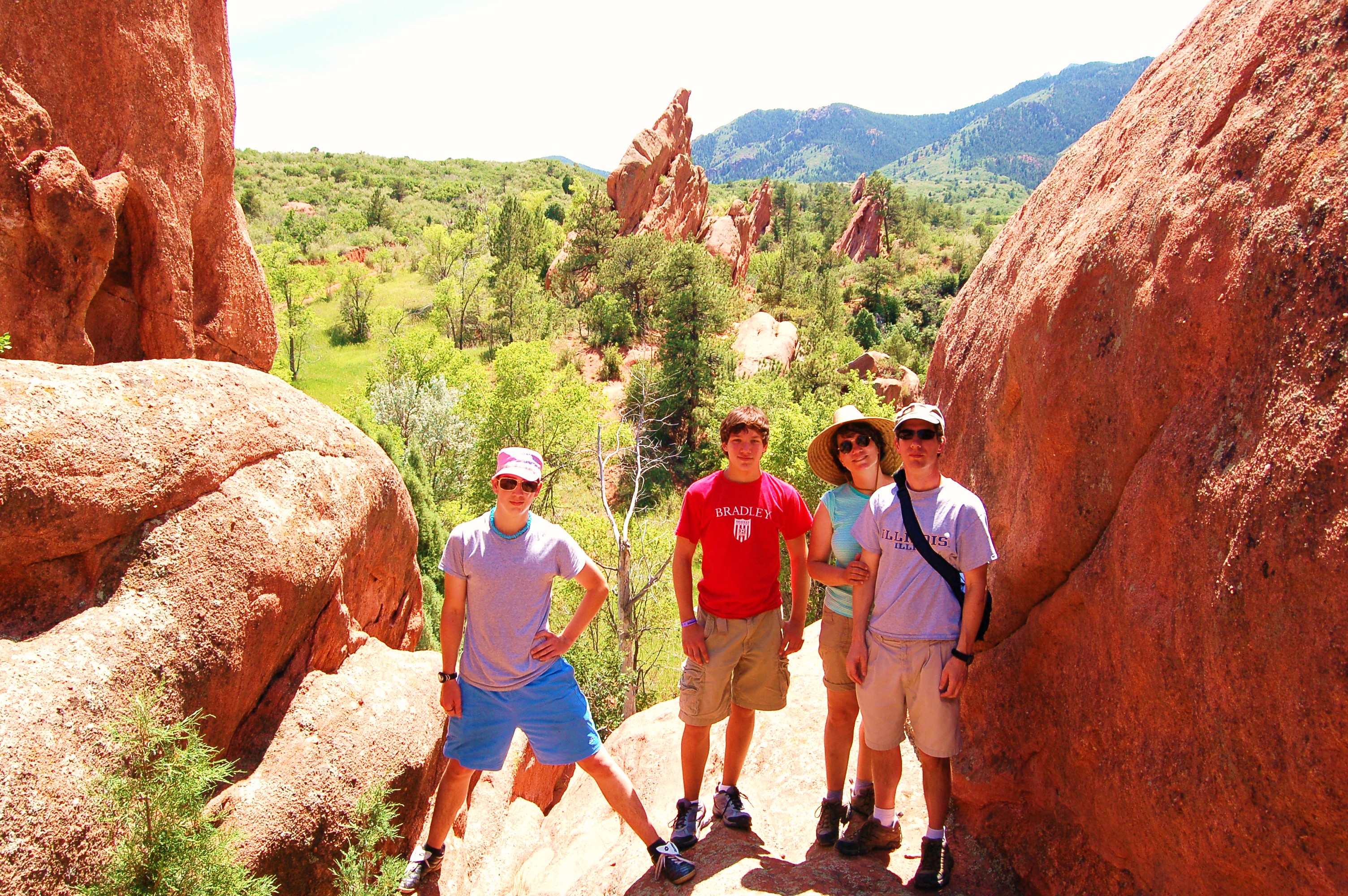 L-R: Taylor, Andy, Gloris, Dave at Red Rock Canyon, Co, 101 degrees!