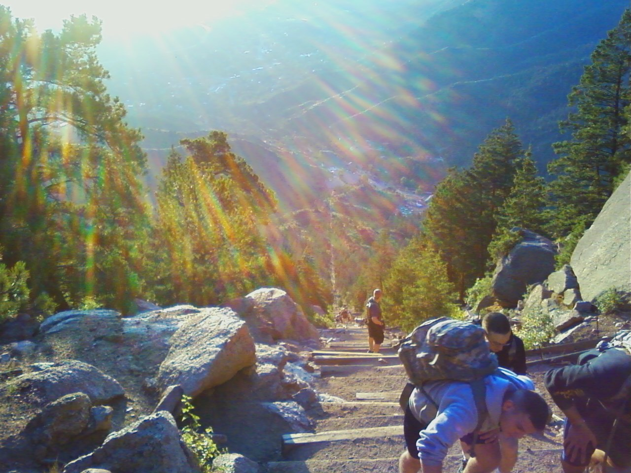 """""""The Incline"""" trail on a sunny morning. 1 mile straight up the mountain along an old cograil train track."""