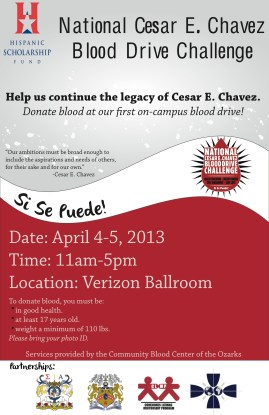Request: To design a poster for HSF UA Scholar Chapter's first Cesar E. Chavez blood drive on campus.