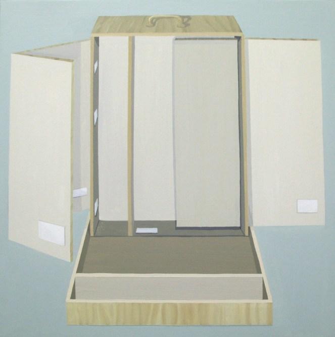 """GloriaMartín. """"Boîtes en Valise"""" 2010-2011. Acrílico sobre lienzo. 50x50cm."""