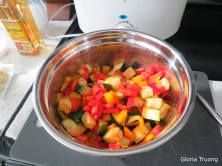 Zucchini, red pepper, yellow pepper, red onion