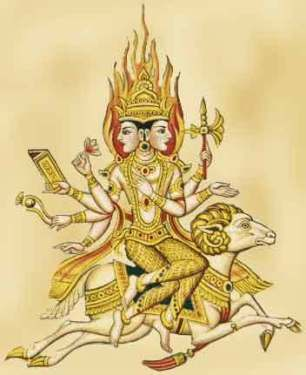 Agni deva is seated on his ram with his head ablaze