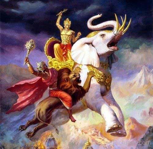 Indra, mounted on his elephant Airavata, is striking an Asura with his thunderbolt. The Asura is attacking him with a mace.