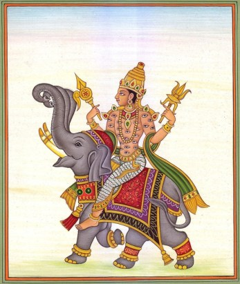 Indra deva seated on his elephant Airavata