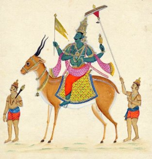Vayu deva seated on his gazelle with two attendants following