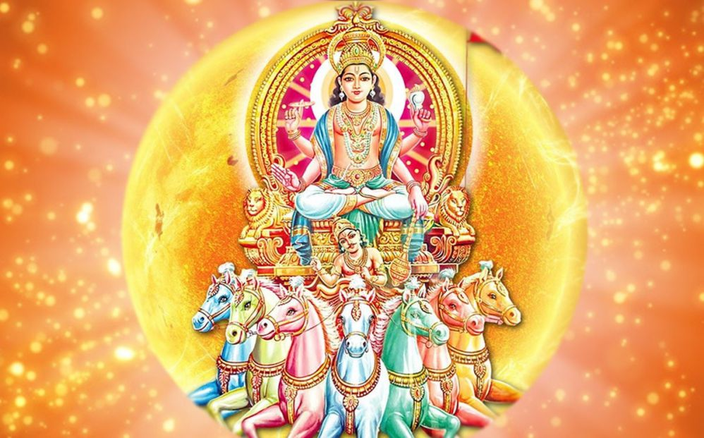 Surya deva in his chariot with the Sun behind him