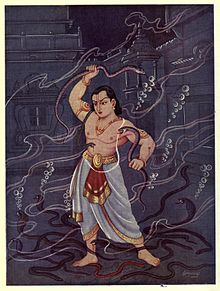 Bhima fighting the snakes underwater at Pramana Koti