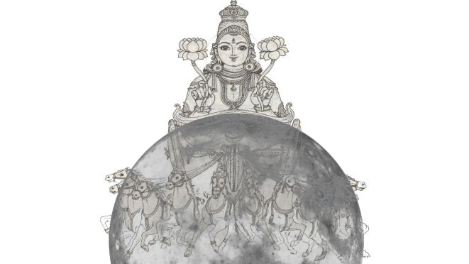 Chandra riding on his chariot with the moon in the background