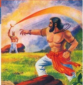 Vishwamitra throws a weapon, but it is absorbed by Vashishta's staff