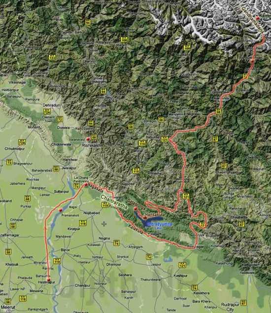 Map of Pandu's travels
