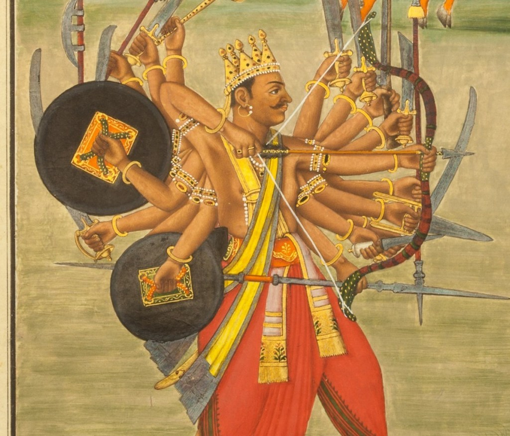 Kartavirya Arjuna with 1000 arms holding different weapons
