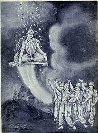 Yayati ascends to Swarga on his throne and his citizens are praising him