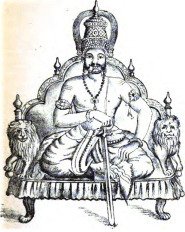 King Yayati on his throne