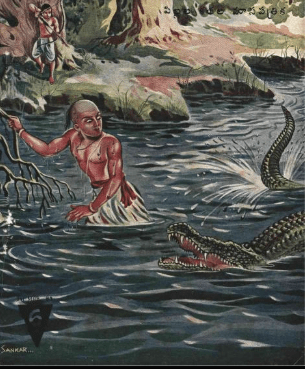 A crocodile attacks Drona in the water, Arjuna aims his bow and arrow at it
