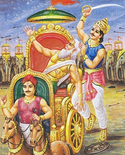 Dhristadyumna cuts of Drona's head with his sword