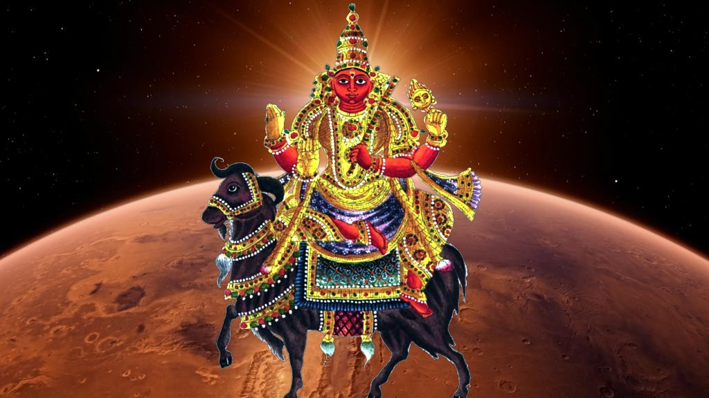 Mangala deva on his ram with the planet Mars in the background