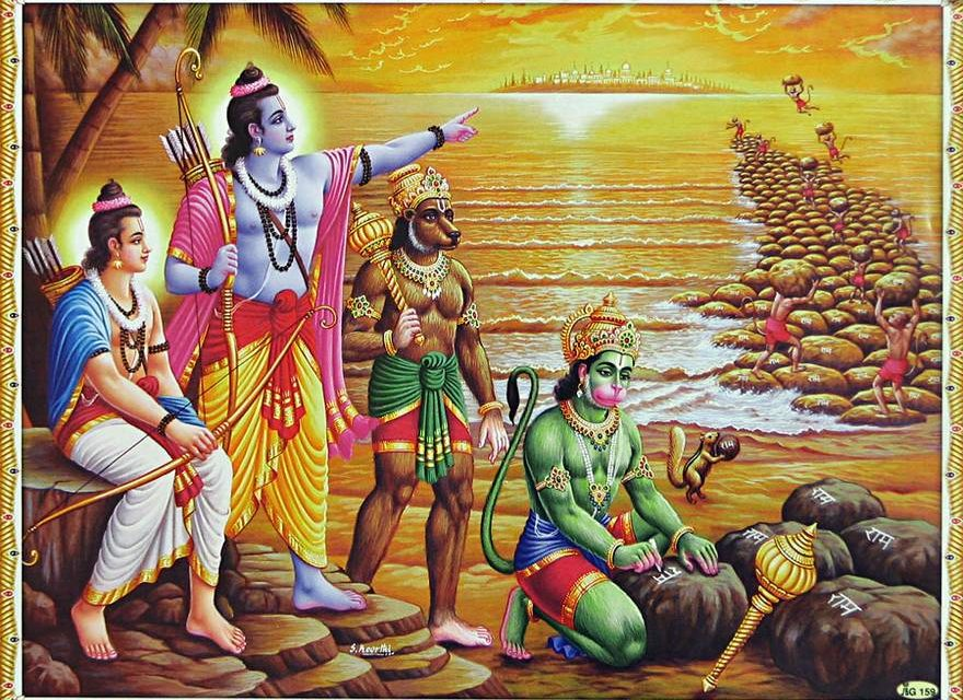 Rama and his Vanara army building a bridge of rocks to Lanka