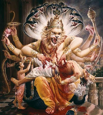 Narasimha Avatar, half-lion and half-man, tears into the heart of Hiranyakashipu with his nails. Prahlad is standing next to them