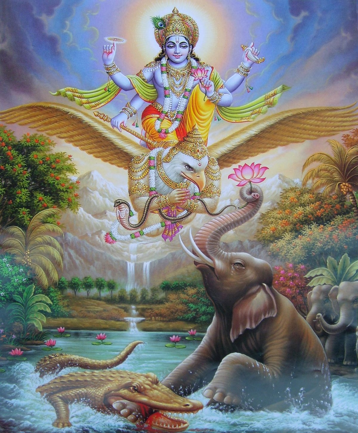 Gajendra is in a lake with a crocodile biting his leg. Vishnu is in the sky on Garuda, saving Gajendra