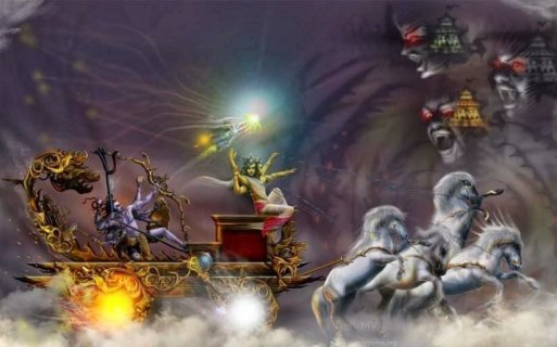 Shiva in his chariot shooting an arrow at the three cities and the three Asuras