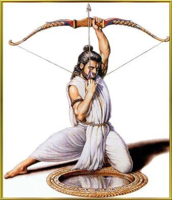 Arjuna shooting his bow and arrow in Draupadi's swayamvara