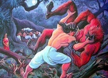 Bhima wrestles with the Hidimb in the dark forest, Hidimba watches while the Pandavas are asleep in the background