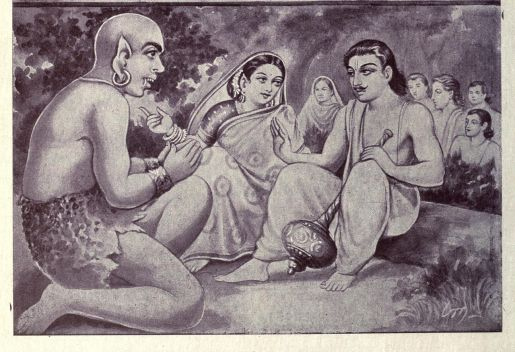 Ghatotkacha bows to his parents, who bless him, the Pandavas and Kunti are in the bakground in the forest