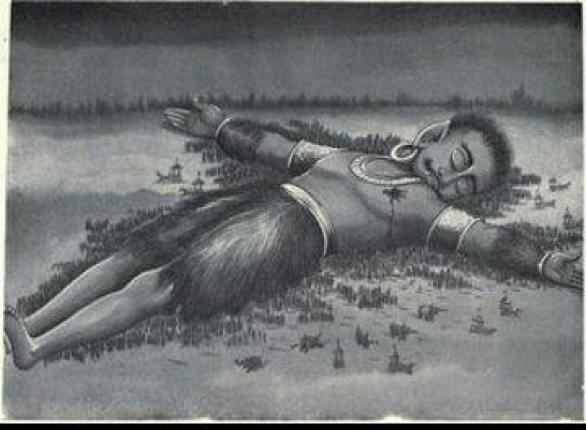 Ghatotkacha lying on the battlefield, with thousands of little soldiers underneath him