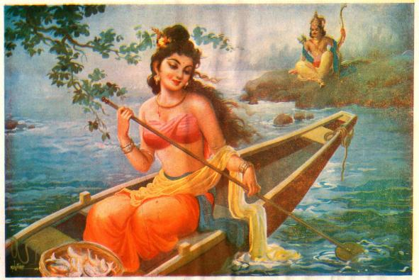 Satyavati rowing in a boat on the river, Shantanu looks at her from the riverbank