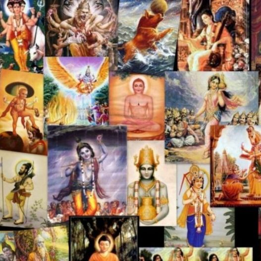 A group of different pictures of Vishnu's avatars