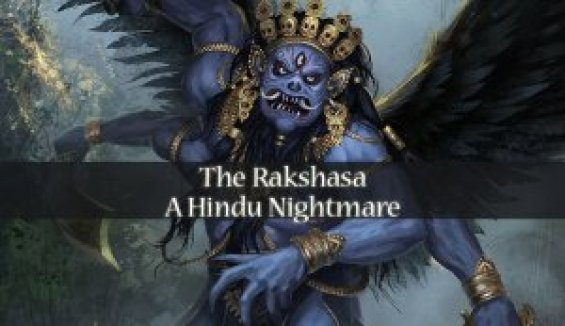A picture of a blue Rakshasa with winds, talons, and two fangs