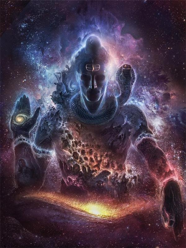Lord Shiva in a space background