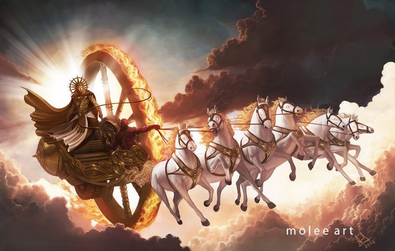 Surya, the sun god, riding on a horse-draw chariot through the skies