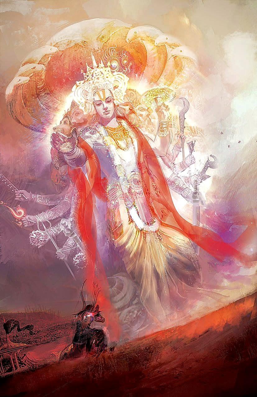Vishnu blessing a devotee