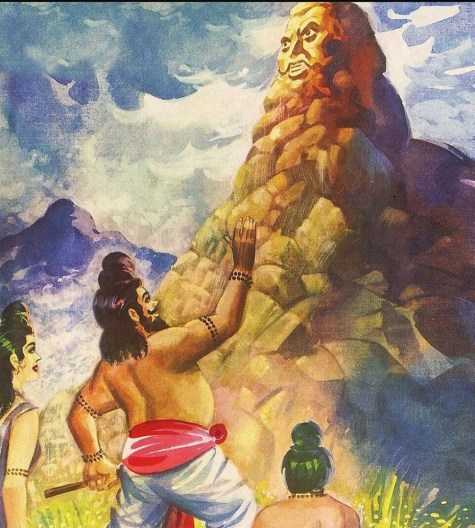 Agastya talks to the tall Vindhya Mountain
