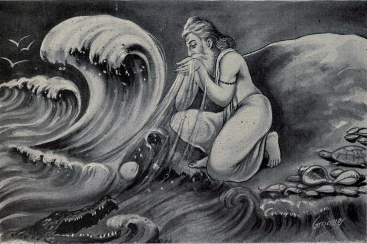 Agastya scoops up the water of the ocean into his mouth
